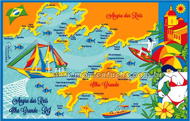 Ilustração Mapas Cidades by Mônica Fuchshuber
